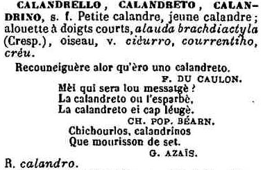 calandrello, calandreto Mistral
